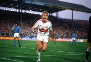 Football. UEFA Cup Final, Second Leg. Naples, Italy. 17th May 1989. Napoli 2 v VfB Stuttgart 1 (Napoli win 5-4 on aggregate). Stuttgart's Jurgen Klinsmann celebrates after scoring a goal.